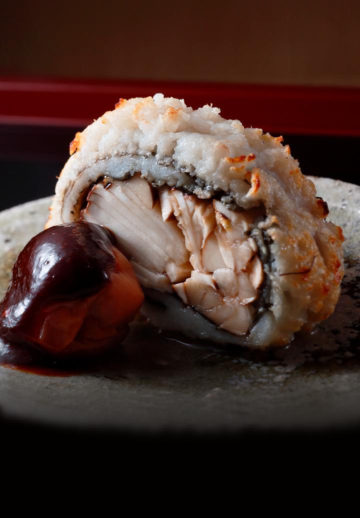 Nariai-yaki  (Matsutake Mushrooms and Pike Conger Eel)